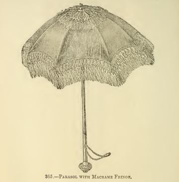 Umbrella with macrame fringe
